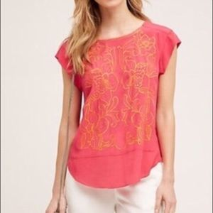 Anthropologie Sun Stitched Shell Embroidered Top